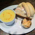 Our Lobster Roll with Golden Beet & Apple Soup
